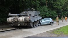 British tank crushes learner driver's car in Germany