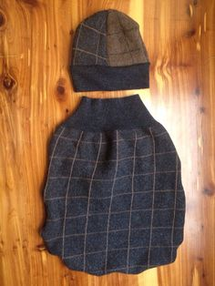 Upcycled charcoal gray and brown check thick merino Wool newborn infant sleep sack kick sack cocoon hat on Etsy, $29.00