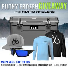 Filthy FrozenGiveawayWin a $400 Yeti Cooler Filled with Filthy Anglers Gear! Yeti Tundra 45, Yeti Cooler, Online Contest, Kayak Accessories, Hobbies For Men, I Cant Help It, Fishing Outfits, Enter To Win, Me Time