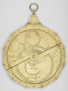 Astrolabe    Signed by Erasmus Habermel    circa 1585; German    Gilt brass and copper; 195 mm in diameter    This instrument is engraved by Paduanius of Forli in Italy, a physician for whom Erasmus Habermel made some 28 instruments between 1585 and 1586. Among the patients of Paduanius was Rudolf II, for whom Habermel would act as instrument maker in Prague.    Museum of the History of Science, Oxford