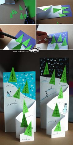 card making photo tutorial: handmade Christmas/winter card ... fancy fold cascade ... luv the triangle trees placed along the drop line ...
