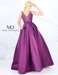 Mac Duggal the plunging neckline leads into the square open back for a dramatic effect. - Prom Dresses - Mac Duggal the plunging neckline leads into the square open back for a dramatic effect. - Evening Dresses - Mac Duggal the plungi Prom Girl Dresses, Ball Gown Dresses, Pageant Dresses, Trendy Dresses, A Line Evening Dress, Evening Dresses, Taffeta Skirt, Mac Duggal, Formal Gowns