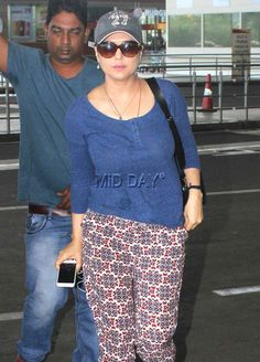 Preity Zinta at Mumbai airport. #Bollywood #Fashion #Style #Beauty #Hot #Sexy