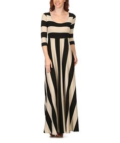 Another great find on #zulily! Black & Oatmeal Stripe Maxi Dress #zulilyfinds