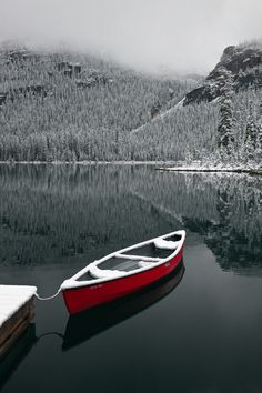 ♂ Red boat peaceful lake snow mountain silence nature