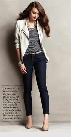 White blazer, black and white striped shirt, skinny jeans, and nude heels.