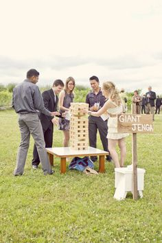 need some 'between ceremony and reception' ideas for your guests? board games - done big. || giant jenga
