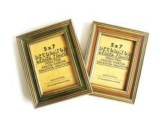 Vintage 70s Wooden Frames Orange Avocado Green by EncoreEmporium
