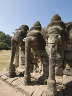 Elephant Terrace, Angkor Thom, Angkor, Siem Reap, Cambodia, Indochina, Southeast Asia
