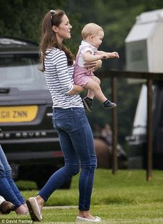 15 June 2014 The Duchess of Cambridge and Prince George went to Cirencester Park Polo Club for support to the Duke of Cambridge during a charity polo match