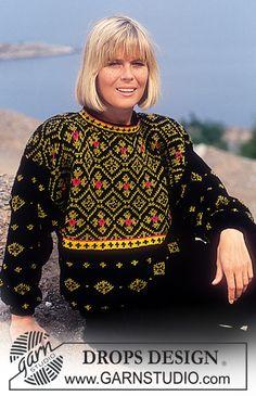 DROPS trøje i Karisma med nordiske Blomster-ruder. Gratis opskrifter fra DROPS Design.