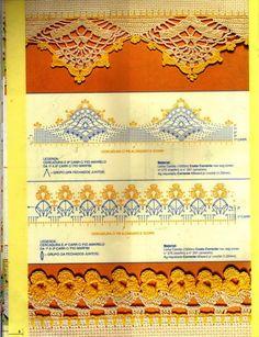 Puntilla, borde, terminacion, crochet ganchillo - manteles cortinas mantillas / Crochet lace border edge