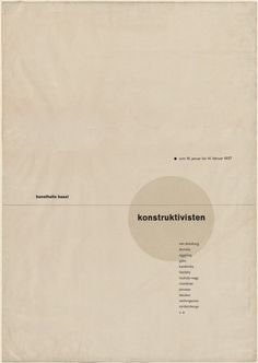 Jan Tschichold Die Konstruktivisten (The Constructivists) (Poster for exhibition in the Kunsthalle Basel) 1937