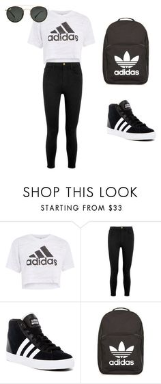 Adidas outfit by thisisnotjs ❤ liked on Polyvore featuring Topshop, Frame, adidas and Ray-Ban