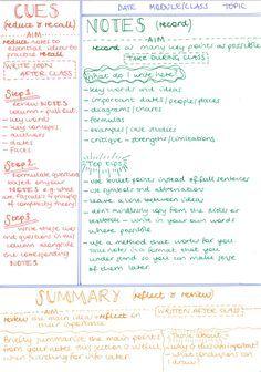 Cornell note taking method diagram