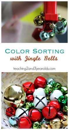 Jingle Bell Color Sorting for Toddlers and Preschoolers - a fun Christmas activity with fine motor and science involved!