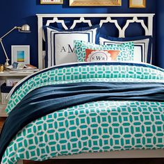 Elsie Bed | PBteen #Headboard #Crib Bedding Bedroom Navy Blue and Turquoise