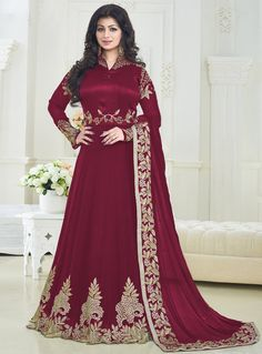 Ayesha Takia Magenta Georgette Floor Length Anarkali Suit 90569