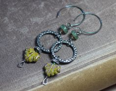 Hey, I found this really awesome Etsy listing at https://www.etsy.com/listing/245524574/czech-glass-leaf-old-glass-bead-hoop