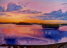 Toward Sheep and Andrew's Islands, Nova Scotia.  Painting by Robert Tharsing.
