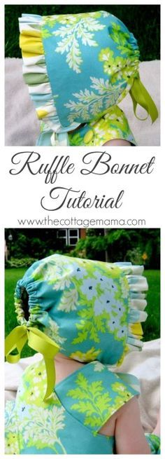 Ruffle Bonnet FREE Sewing Pattern and Tutorial - The Cottage Mama Sewing Patterns Free, Free Sewing, Baby Patterns, Free Pattern, Baby Bonnet Pattern Free, Dress Patterns, Coat Patterns, Pattern Ideas, Clothes Patterns