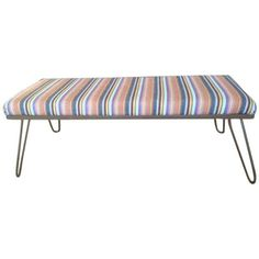 Image of Upholstered Bench with Hairpin Legs