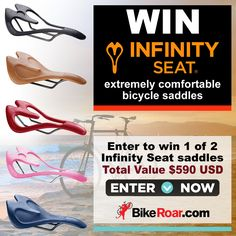 Enter to win 1 of 2 Infinity Seat extraordinarily comfortable bicycle saddles valued at $590 in BikeRoar's contest!