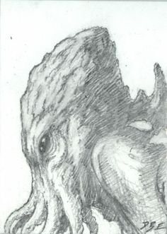 CTHULHU NO 42 original sci fi art, ACEO, lovecraft, cthulhu mythos, horror
