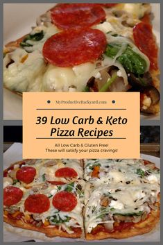 Satisfy your pizza cravings with this collection of low carb and gluten free pizza options; some with crust and others in a dish! Low Carb Dinner Recipes, Pizza Recipes, Side Dish Recipes, Lunch Recipes, Keto Recipes, Ketogenic Recipes, Diabetic Recipes, Healthy Recipes, Dairy Free Low Carb