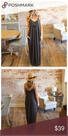 """Gray V Neck Cami Maxi Dress with Pockets Modeling size small , adjustable straps  Bust laying flat pit to pit: S 17"""" M 18"""" L 19"""" XL 20"""" Length S 58"""" M 59"""" L 60"""" XL 60.5"""" 55 poly 40 rayon 5 spandex IRPD7510209. RS1024P Infinity Raine Dresses Maxi"""