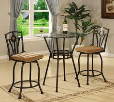 Olivia Pub Table and Chair Set - 3 Piece by Dinette Direct. $399.99. Glass Table and Two Dining Chairs - with usable storage box. Ships via Home Appointment Freight Delivery.. In stock now. Flat rate Shipping See restrictions on our policy pages.. Our 3 piece kitchen dinette sets are perfect for small spaces. With comfortable seating for two, these collections of dining furniture are both cozy and elegant.. Save 33%!