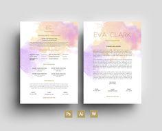 Eva Clark Digital Template - Résumé - Business card - CV - Cover letter - Purple/Gold - Editable PSD File - Fonts Included - Digital Goods