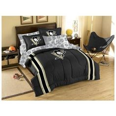 NHL pittsburg penguins bedroom | ... PITTSBURGH PENGUINS Comforter Sheets - Hockey Bed-in-Bag TWIN BEDDING