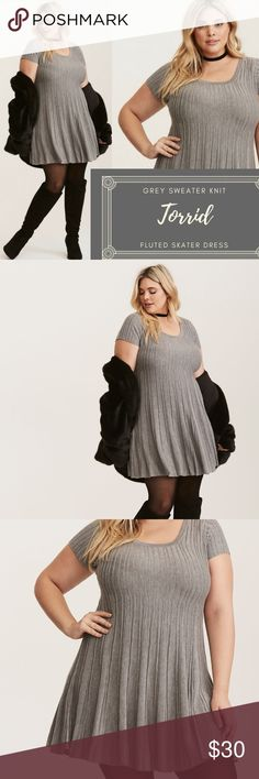 """NWOT Torrid Grey Sweater Knit Fluted Skater Dress NWOT Torrid Grey Sweater Knit Fluted Skater Dress Item #: 11099546 Size: 4X *NEW! Never washed or worn! Tags removed but this item is brand new. :)  """"Don't give into the winter blues; this sweater knit skater dress will keep you cozy and cute! The ribbed knit has major stretch appeal, with a fluted skirt that keeps you swinging. The knit is lightweight and easy. Sweater knit, Scoop neck ,Short sleeves, No waist, Mini length, No closure""""…"""