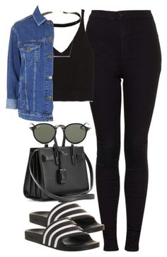 """Untitled #2576"" by hiitsbre ❤ liked on Polyvore featuring Topshop, adidas, Zara, ASOS, Yves Saint Laurent and Ray-Ban"