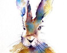 Rabbit Watercolor Art Print Colorful Bunny Love Baby Infant Kid Art Wildlife Children's Paper Goods Art Boho Chic Art Home Decor