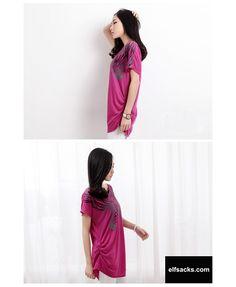 Womens Loose Animal O-Neck Short Sleeve Purple Tshirt