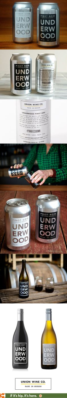 Union Wine Co.'s Underwood Wines in a can and bottles. They also have a nicely designed website.