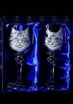 Cat Portraits on Crystal Wine glasses