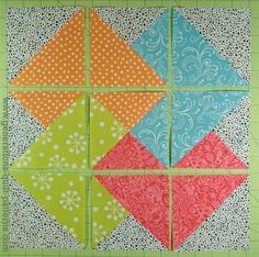 Layout the units for your Card Trick quilt block