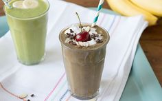 Recipe:Banana Split Green Smoothie Serves 2 Ingredients: 1 cup Spinach 2 cups unsweetened Almond Milk 2 Bananas* 1 cup Cherries, pitted* 2 tablespoons Cacao powder 2 tablespoons sliced Almonds Homemade Coconut Whipped Cream (optional) *Use at least one frozen fruit to chill down your smoothie bowl.  Source: Simple Green Smoothies Photo:Simple Green Smoothies
