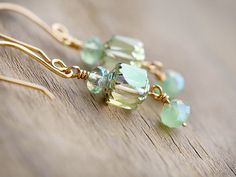 Frosted Mint Green Gold Earrings by beesandbuttercups on Etsy, $29.00