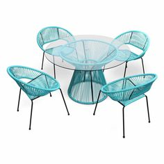 Chair dimensions: 27.5W x 24.5D x 30.5H in.Table dimensions: 48W x 48D x 29.25H in.Powder-coated steel framesStretchy seats of polyethylene cordGlass-topped table with matching styleMid-century-inspired styleOffered in a full range of vivid colorsGenerously sized chairs for lounging or diningResistant to rust and weatheringPerfect for any climate. You can have brunch on the lanai or dinner by the pool and the retro-inspired feel of the Harmonia Living Acapulco 5 Piece Dining Set is going to make Patio Dining, Outdoor Dining, Dining Table, Dining Chairs, Acapulco Chair, 5 Piece Dining Set, Dining Sets, Free Fabric Swatches, Sunbrella Fabric