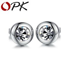 Cheap jewelry dress, Buy Quality jewelry findings clip on earrings directly from China jewelry earring display Suppliers: OPK Vintage Round Design Studs Earring For Women Men Fashion Silver Stainless Steel Cubic Zirconia Jewelry Earring Unisex 281 Tiny Stud Earrings, Sterling Silver Earrings Studs, Crystal Earrings, Women's Earrings, Round Earrings, Silver Ring, Diamond Earrings, Girls Earrings, Pearl Studs