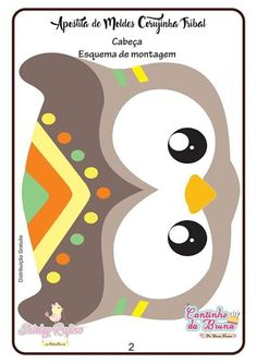 Apostila de Moldes Corujinha Tribal em feltro - Como Faço Fox Decor, Baby Decor, Woodland Theme, Woodland Party, Tribal Animals, Wild One Birthday Party, Shower Bebe, Animal Masks, Free Coloring Pages