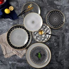 These dinner plates are amazingly beautiful and durable. They have phnom penh geometry design and are made of ceramics. You can use them as dessert plates, cake plates etc. We have them avaliable in different patterns, colours and in 8 and 10 inch sizes. Dinner Plate Sets, Dinner Sets, Dinner Plates, Dinner Ware, Phnom Penh, Ceramic Tableware, Kitchenware, Ceramic Materials, Deco Design