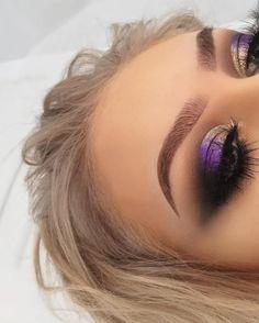 Lash Factory Products Shiny Gold to Purple Eye Makeup Glam Makeup, Purple Eye Makeup, Smokey Eye Makeup, Love Makeup, Makeup Inspo, Makeup Art, Makeup Inspiration, Hair Makeup, Purple Eyeshadow