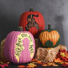 """Gather your coven and work your magic on these """"Hocus Pocus""""-inspired pumpkins. Halloween Home Decor, Halloween House, Holidays Halloween, Halloween Pumpkins, Happy Halloween, Halloween Party, Halloween Decorations, Halloween Table, Halloween Signs"""