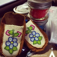 Adorable #baby #moccasins in the making by my talented sister-in-law #Behchoko #livingart #livingculture #livingtraditions