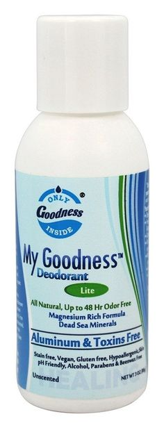 My Goodness Deodorant LITE. 3 Ounce. Truly All Natural. Completely toxins free. For Men, Women and Kids. Odor Protection for Long Days, Guaranteed . Non staining. Non irritating. Non Greasy. Dries Clear fast. , 100% Satisfaction Guarantee,. My Goodness deodorant LITE 3 ounce. For sensitive skin type. Low to normal sweat level. For men, women at all ages. Scentless, Please read and follow the directions below and/or on the deodorant label to maximize your results. The Healthiest Longest...
